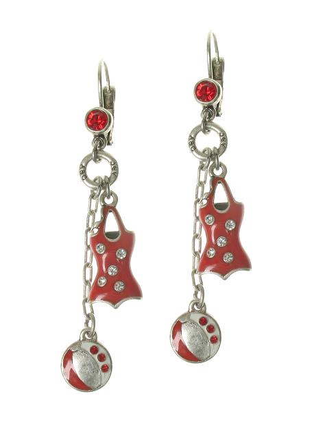 A & C Beach House Bathing Suit Earrings - Red/Silver