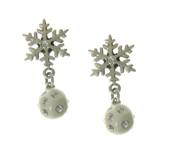 A & C White 'Winter Dream' Snowball & Snowflake Earrings