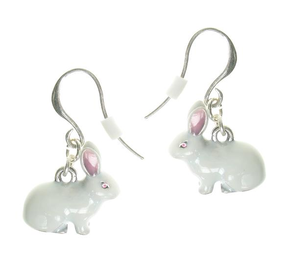 A & C White Rabbit Hook Earrings
