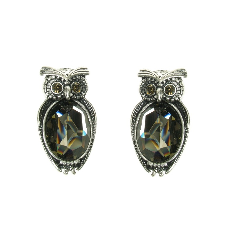 A & C Owl Stud Earrings - Burnished Silver Plate
