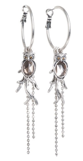 A & C Owl Hoop Earrings - Burnished Silver Plate & Hand Cut Crystal