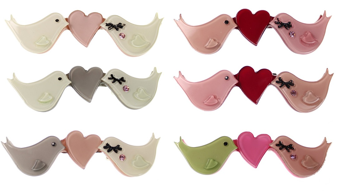 BIG BABY Love Birds Heart & Birdy Brooch/Pin