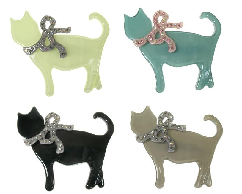 Big Baby Sophisticated Sophisti-Cat With Crystal Bow Brooch Pin