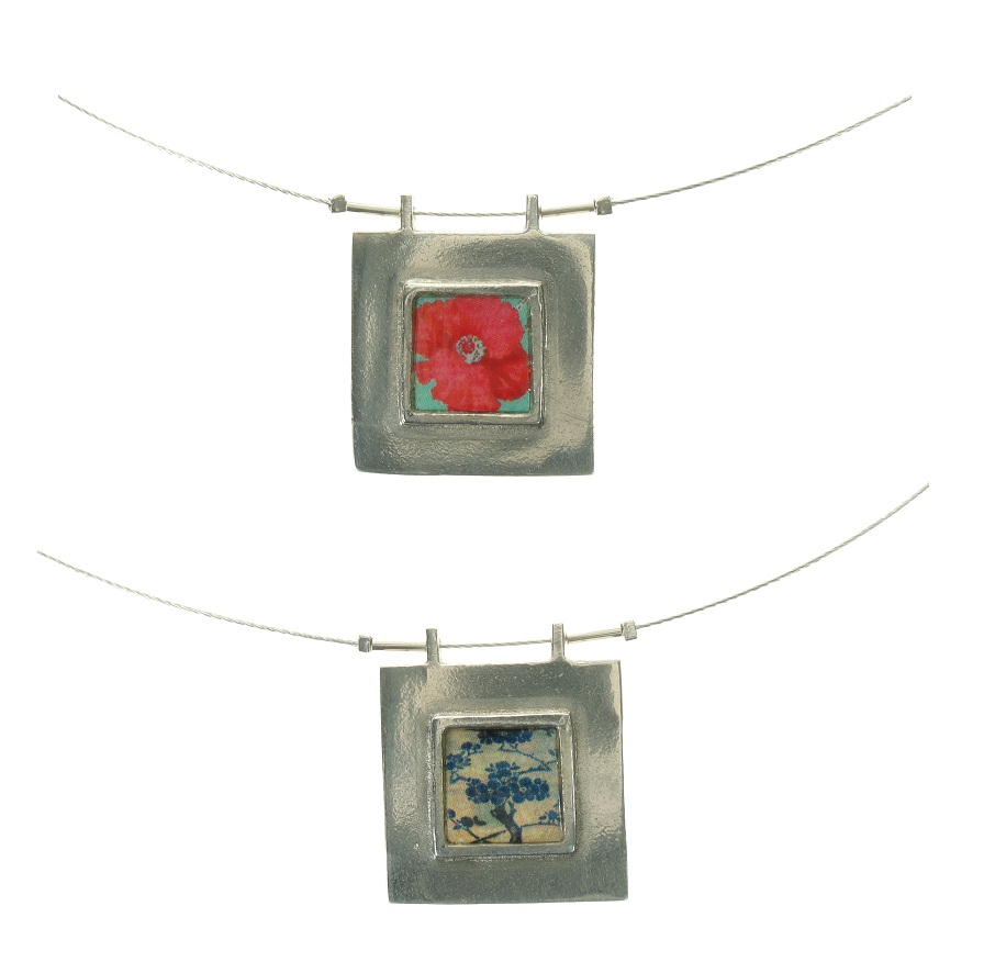 NOA Wide Framed Small Ceramic Tile Window Pendant Necklace