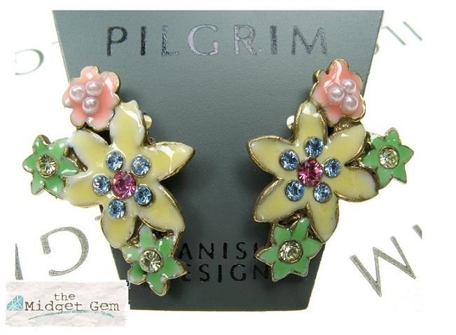 PILGRIM Lily 'Enchanted' Flower Glasses Charms - Burnished Gold Plate & Multi-Colours