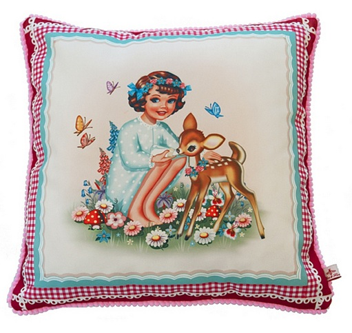 Sweet Girl & Deer Square Cushion With Pom Poms - Fiona Hewitt