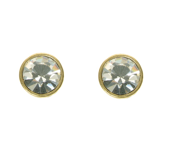 A & C Clear Swarovski Crystal & Gold Stud Earrings