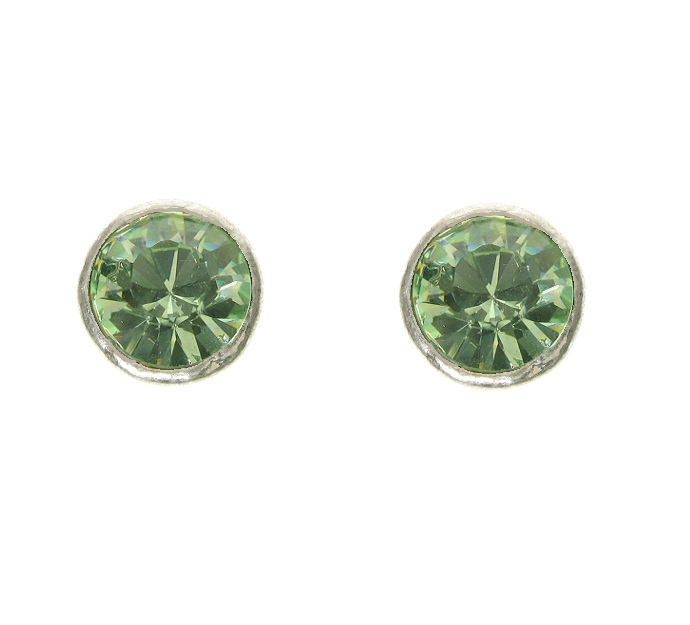 A & C Peridot Green Swarovski Crystal Silver Plate Stud Earrings
