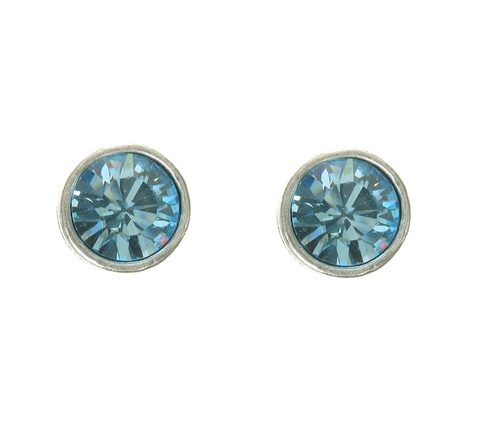 A & C Sapphire Blue Swarovski Crystal & Gold Stud Earrings