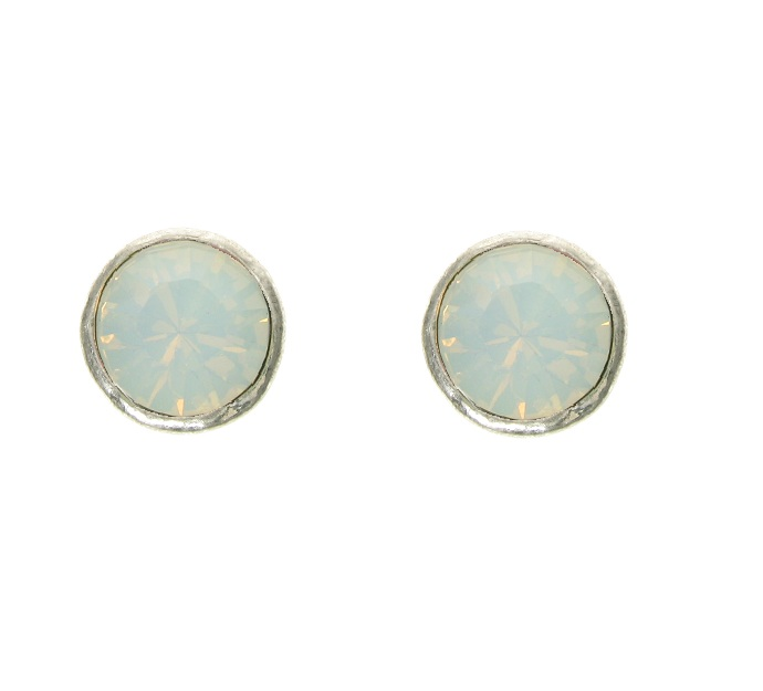 A & C White Opal Swarovski Crystal Silver Plate Stud Earrings