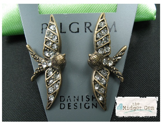 PILGRIM Swallow Bird Glasses Charms - Burnished Gold Plate & Clear Swarovski Crystals