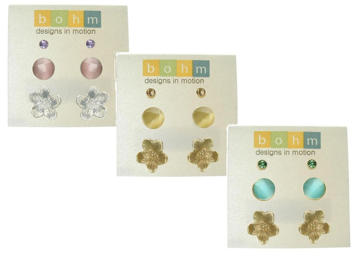 The Bohm Graceful Geometrics 3 Pairs Stud Earrings