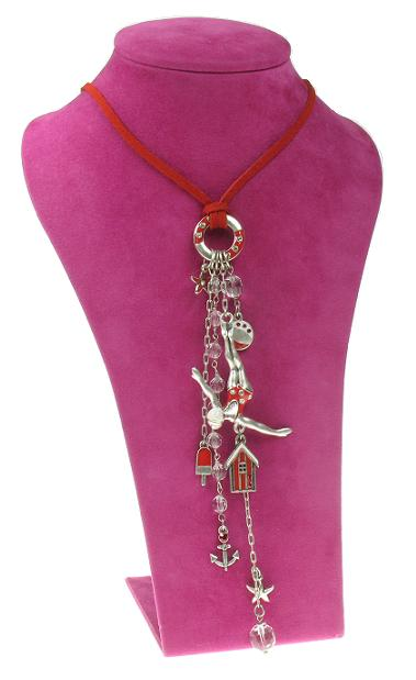 A & C Beach House Charm Tassel Necklace - Silver/Red