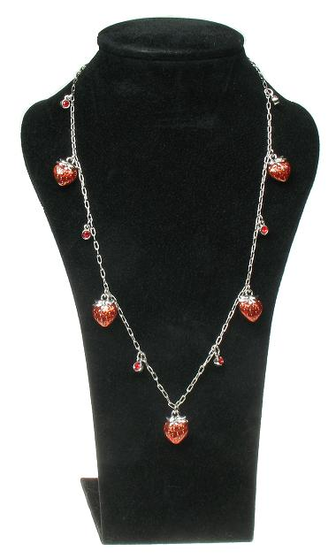 A & C Strawberry Longer Length Necklace - Rhodium Silver Plate