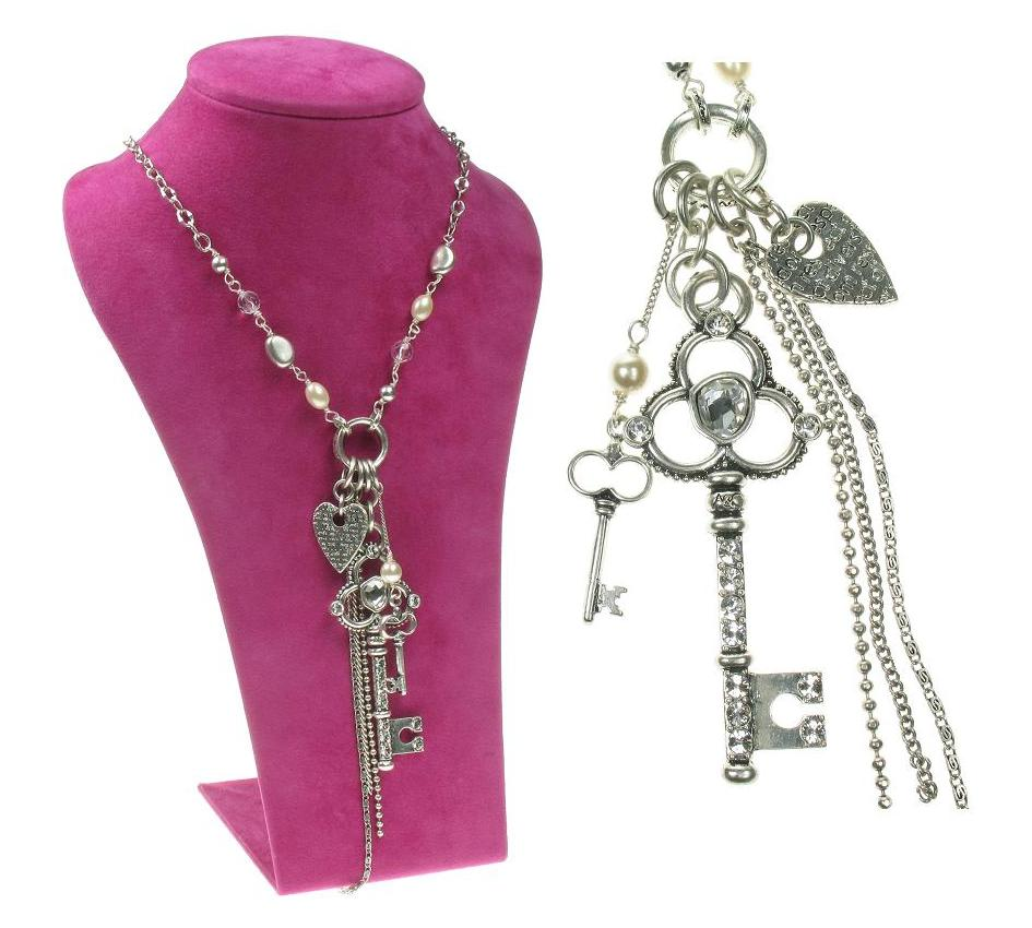 A & C Key To My Heart  Key Cluster Pendant Long Necklace