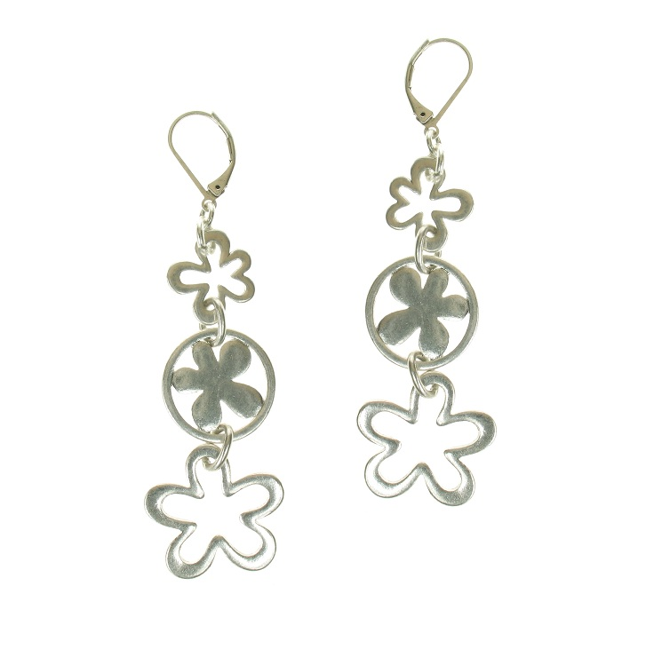The Bohm Blossom Trio Flower Dangly Earrings - Silver Plate
