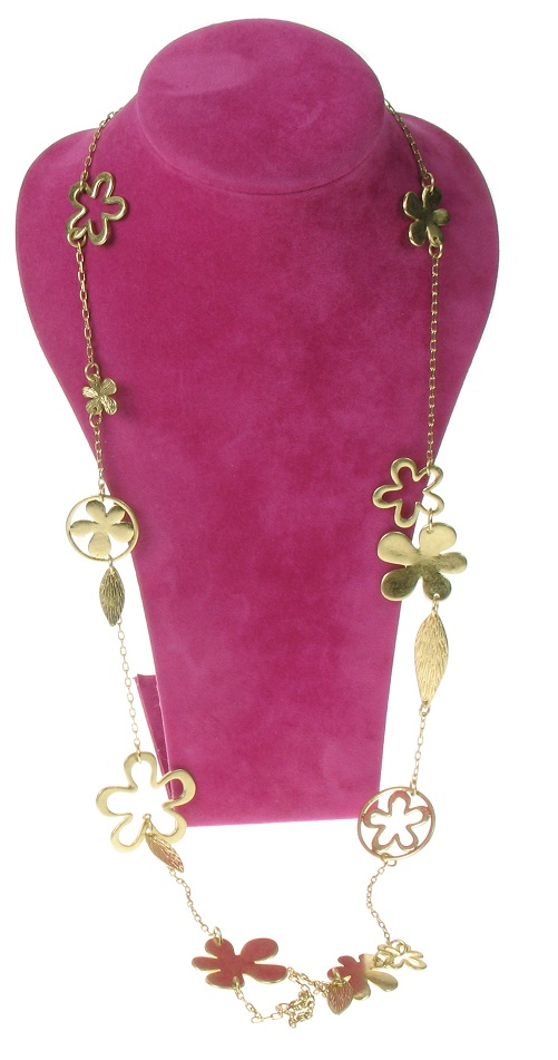 The Bohm Blossom Long Length Flower Necklace - Gold Plate