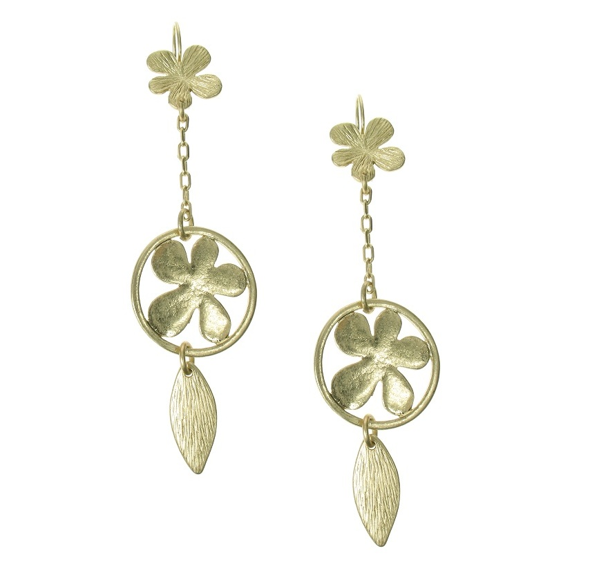 The Bohm Blossom Flower Dangly Earrings - Gold Plate
