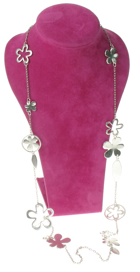 The Bohm Blossom Long Length Flower Necklace - Silver Plate