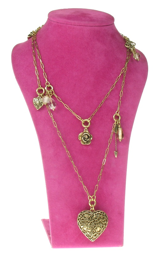 The Bohm - Summer Lovin' - Heart Locket Double Strand Long Necklace - Brown/Gold Plate