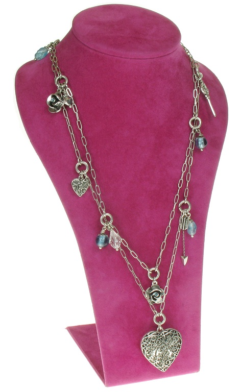 The Bohm - Summer Lovin' - Heart Locket Double Strand Long Necklace - Blue/Silver Plate