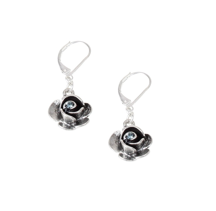 The Bohm - Summer Lovin' - Rose Earrings - Silver Plate/Blue