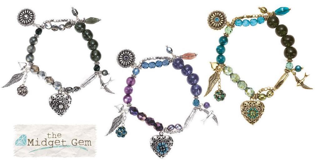 Bohm Bohemian Heart Locket & Charm Stretch Bracelet