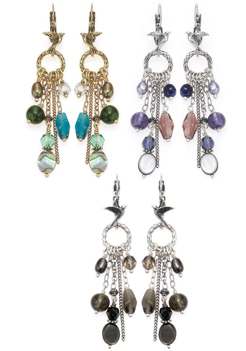 Bohm Bohemian Bird Charm Cascade Earrings