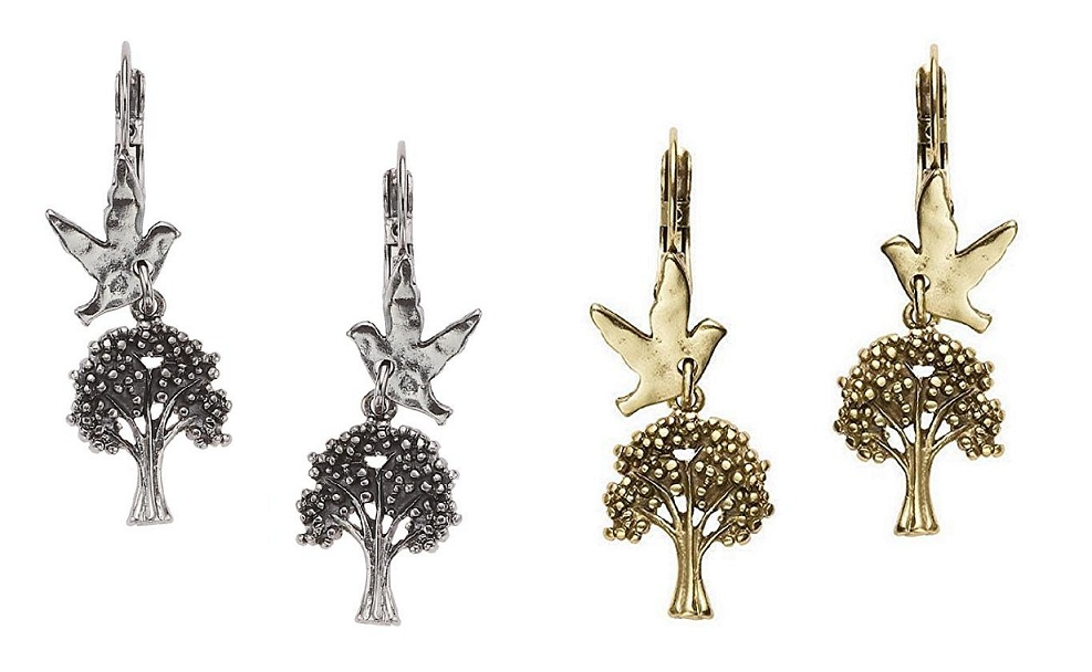 The Bohm - 'All That Plaid' - Tree & Bird Charm Earrings