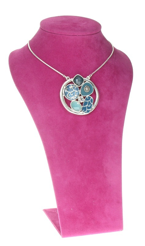 The Bohm - City Chic - Disc Pendant Necklace- Silver/Blue