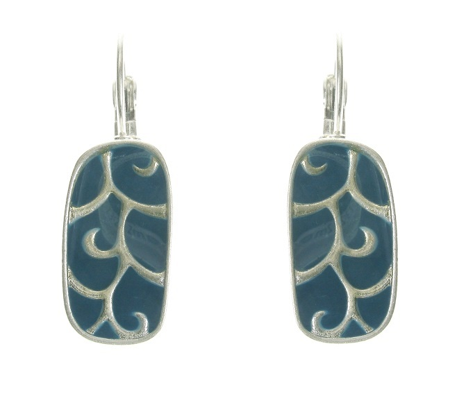 The Bohm - City Chic - Oblong Panel Earrings - Silver/Blue