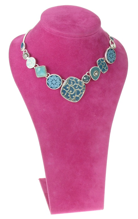 The Bohm - City Chic - Multi-Panel Necklace - Silver/Blue