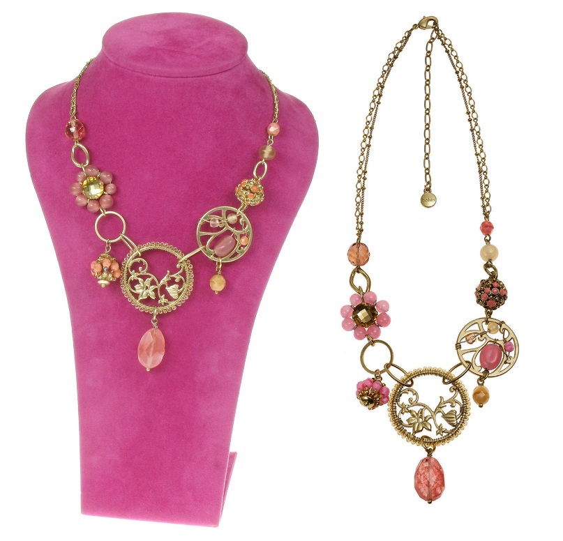 Bohm Floral Folklore Necklace - Gold Plate/Peach & Pink
