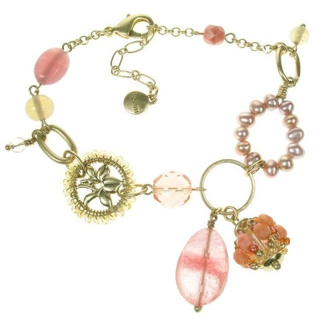 Bohm Floral Folklore Adjustable Bracelet - Gold Plate/Peach