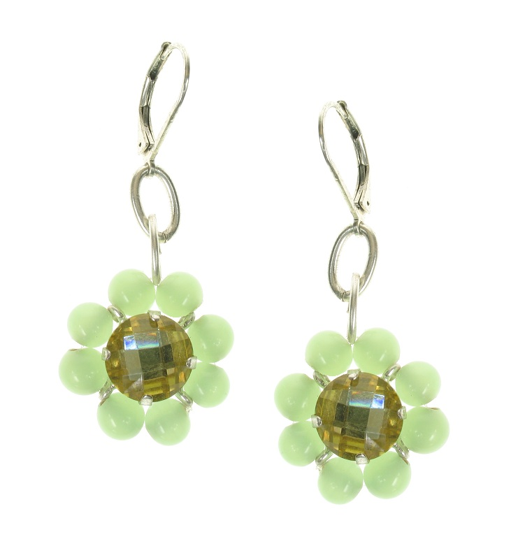 Bohm Floral Folklore Flower Bead Earrings - Silver Plate/Green