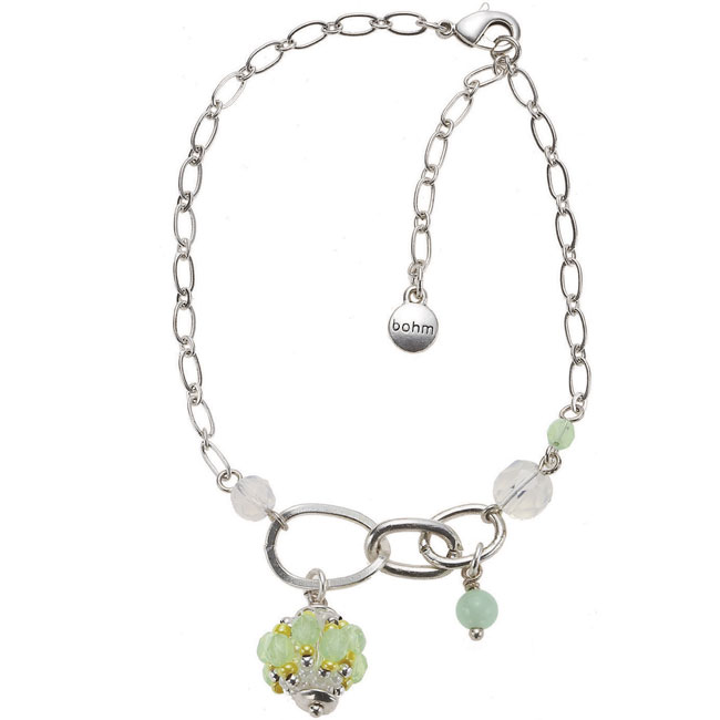 Bohm Floral Folklore Ankle Chain - Silver Plate/Green