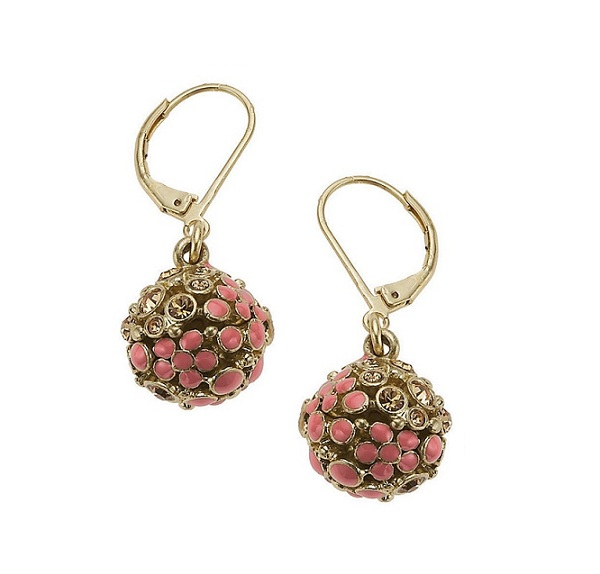 Bohm Floral Folklore Sphere Earrings - Gold Plate/Peach