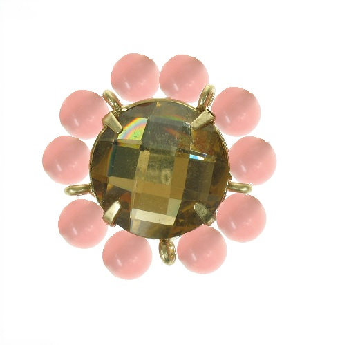 Bohm Floral Folklore Flower Bead Adjustable Ring - Gold Plate/Peach