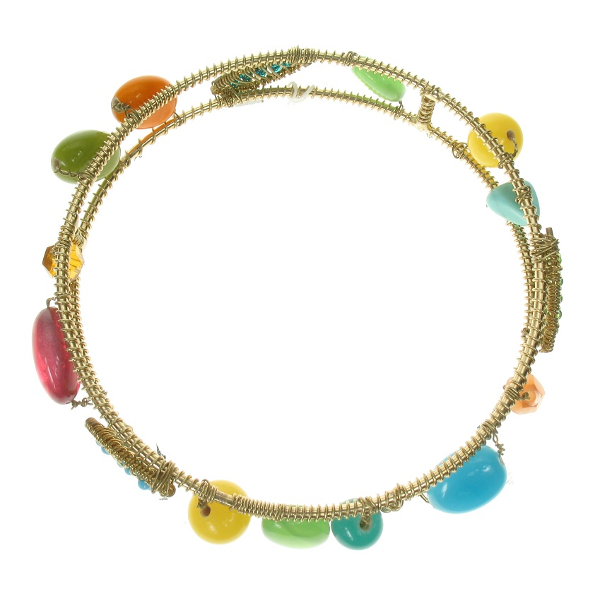 Gypsy Wire-Wrapped Bangle - Gold Plate/Multi-Colours