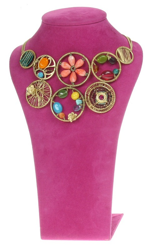 Gypsy Multi-Disc Necklace - Gold Plate/Multi-Colours