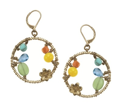 Gypsy Hoop Earrings - Gold Plate/Multi-Colours