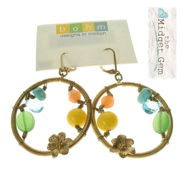 Gypsy Hoop Earrings - Gold Plate/Multi-Colours