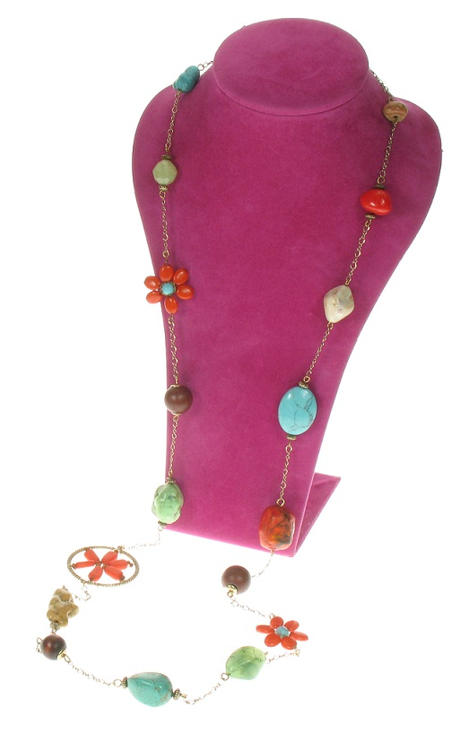 Boho Glam Long Length Necklace - Coral/Turquoise/Brown.