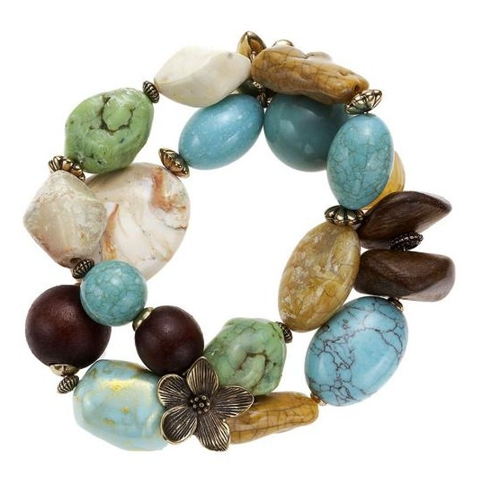 Boho Glam Stretch Bracelet - Turquoise/Brown
