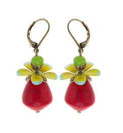 Bohm Aloha Red Drop Flower Earrings