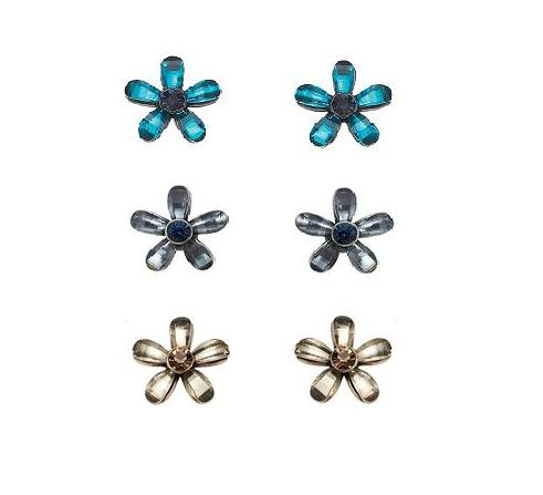 Bohm Vogue Jewel Flower Stud Earrings
