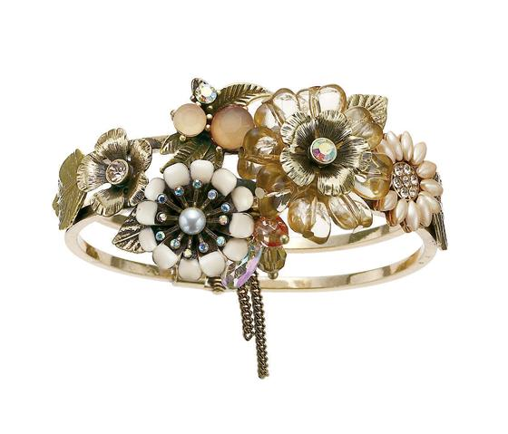 Bohm Bursts Of Brilliance Ornate Flowers Hinged Bangle