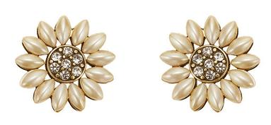 Bohm Bursts Of Brilliance Pearl Petal Flower Earrings