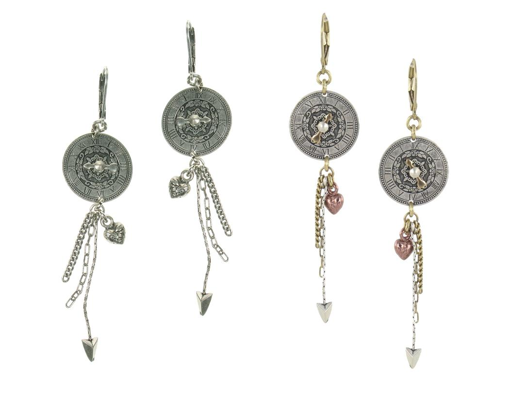 Bohm Timepiece Clock Face Dangly Earrings