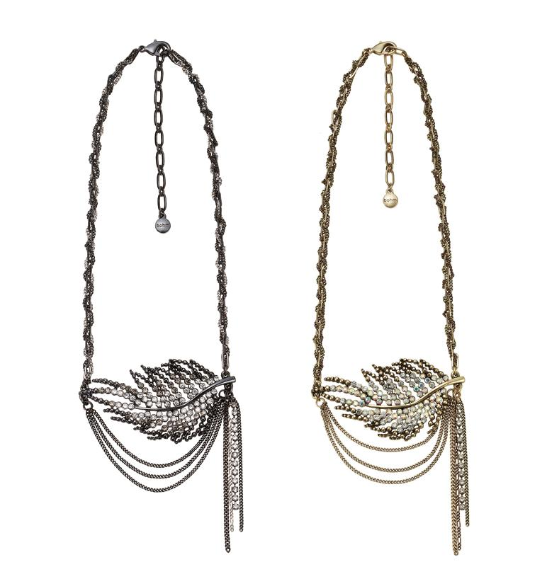 Bohm Ice Petals Sinuous Feather Necklace